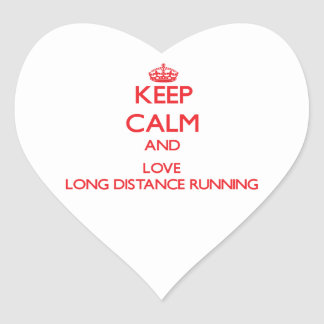 Keep calm and love Long Distance Running Heart Stickers