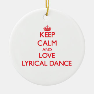 Keep calm and love Lyrical Dance Double-Sided Ceramic Round Christmas Ornament