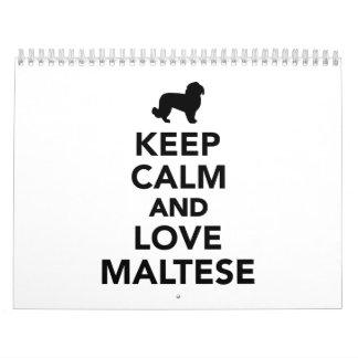 Keep calm and love Maltese Calendar