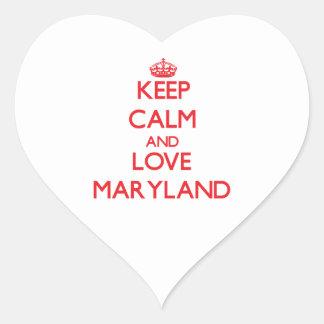 Keep Calm and Love Maryland Heart Sticker