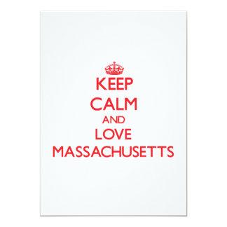 Keep Calm and Love Massachusetts 5x7 Paper Invitation Card