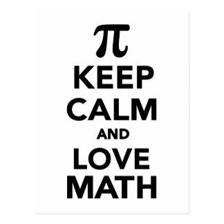 Keep calm and love Math Pi Post Card