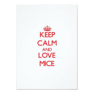 Keep calm and love Mice 5x7 Paper Invitation Card