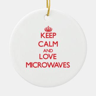 Keep calm and love Microwaves Christmas Ornaments