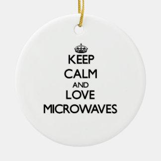 Keep calm and love Microwaves Christmas Tree Ornaments