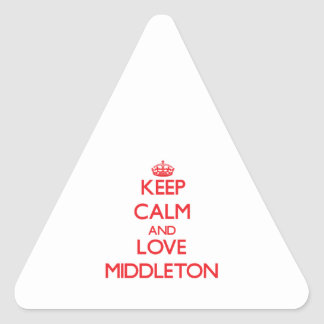 Keep calm and love Middleton Triangle Stickers