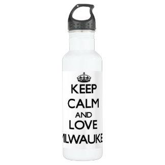 Keep Calm and love Milwaukee 24oz Water Bottle