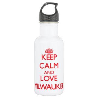 Keep Calm and Love Milwaukee 18oz Water Bottle