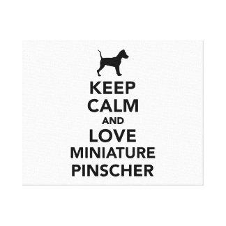 Keep calm and love Miniature Pinscher Canvas Print