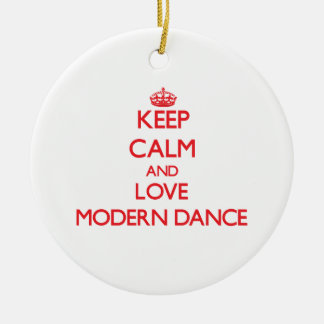 Keep calm and love Modern Dance Double-Sided Ceramic Round Christmas Ornament