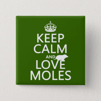Keep Calm and Love Moles (any background color) Pinback Button