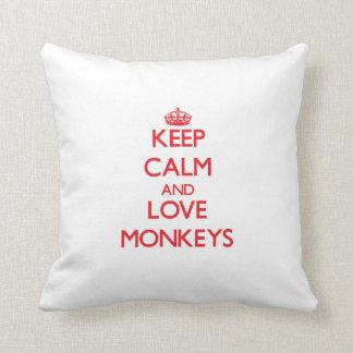 Keep calm and love Monkeys Throw Pillow