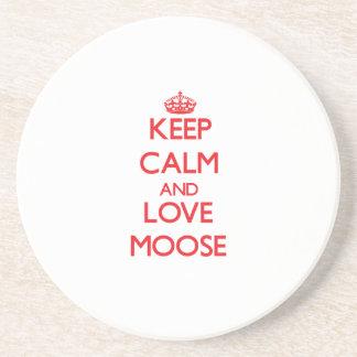 Keep calm and love Moose Beverage Coaster
