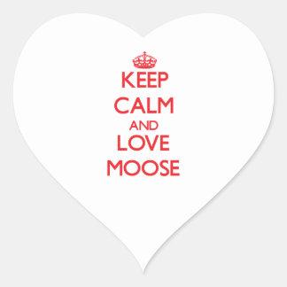 Keep calm and love Moose Heart Sticker