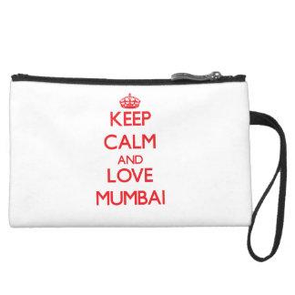Keep Calm and Love Mumbai Suede Wristlet Wallet