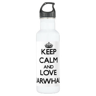 Keep calm and Love Narwhals 24oz Water Bottle