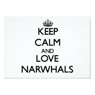 Keep calm and Love Narwhals Personalized Invites