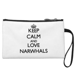 Keep calm and Love Narwhals Wristlet Clutch
