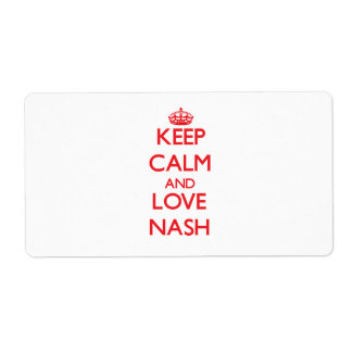 Keep calm and love Nash Shipping Label