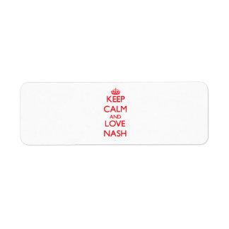 Keep calm and love Nash Return Address Label