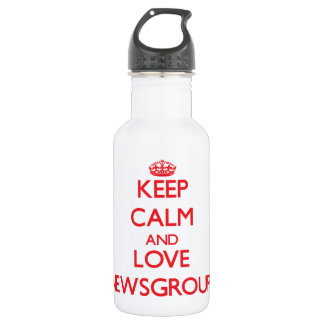 Keep calm and love Newsgroups 18oz Water Bottle