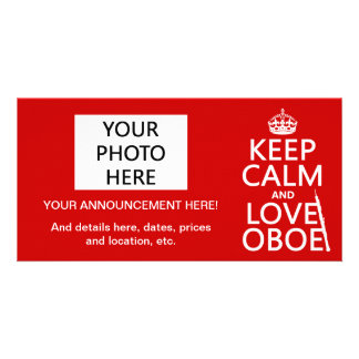 Keep Calm and Love Oboe (any background color) Picture Card