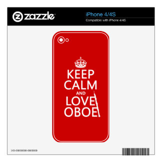 Keep Calm and Love Oboe (any background color) Skin For The iPhone 4S