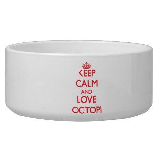 Keep calm and love Octopi Pet Food Bowl
