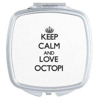 Keep calm and Love Octopi Makeup Mirror