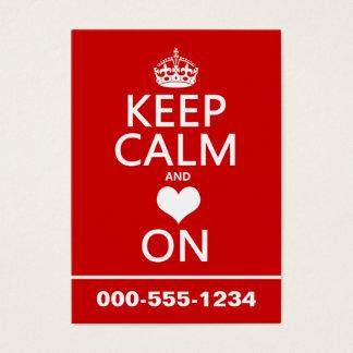 Keep Calm and Love On (Heart) Business Card