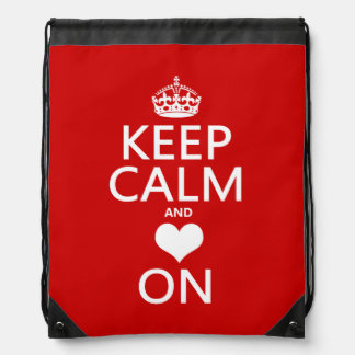 Keep Calm and Love On (Heart) Drawstring Backpack
