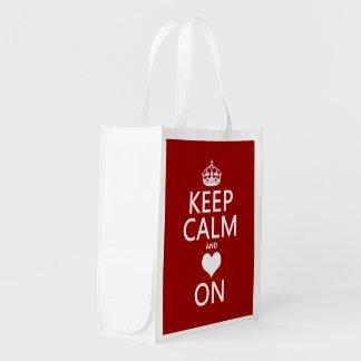 Keep Calm and Love On (Heart) Reusable Grocery Bag