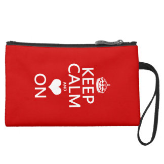 Keep Calm and Love On (Heart) Suede Wristlet Wallet