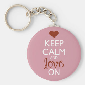 Keep Calm and Love On Basic Round Button Keychain