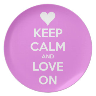 Keep Calm and Love On Pink Plate