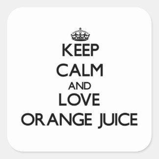 Keep calm and love Orange Juice Square Stickers