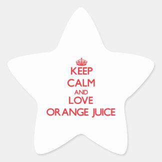 Keep calm and love Orange Juice Star Stickers