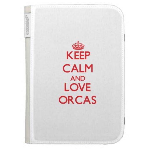 Keep calm and love Orcas Kindle Folio Case