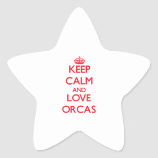 Keep calm and love Orcas Star Stickers