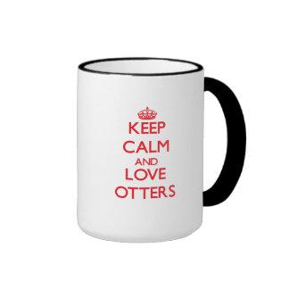 Keep calm and love Otters Ringer Coffee Mug