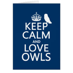 Greeting Card with Keep Calm and Love Owls design