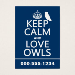 Chubby Business Cards (100-pack) with Keep Calm and Love Owls design