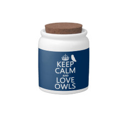 Candy Jar with Keep Calm and Love Owls design