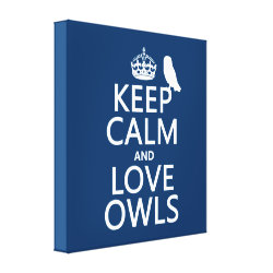 Premium Wrapped Canvas with Keep Calm and Love Owls design