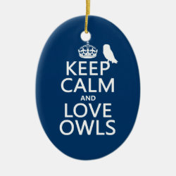 Oval Ornament with Keep Calm and Love Owls design