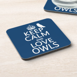 Beverage Coaster with Keep Calm and Love Owls design