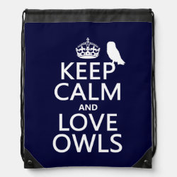 Drawstring Backpack with Keep Calm and Love Owls design