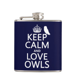 Vinyl Wrapped Flask, 6 oz. with Keep Calm and Love Owls design