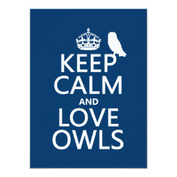 5.5' x 7.5' Invitation / Flat Card with Keep Calm and Love Owls design