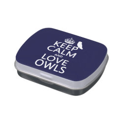 Rectangle Jelly Belly™ Candy Tin with Keep Calm and Love Owls design